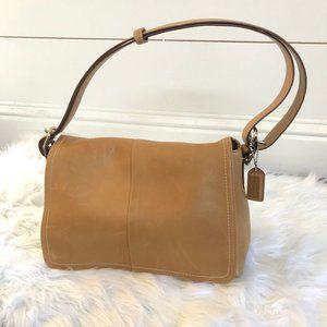 Authentic Coach Tan Leather Shoulder Saddle bag